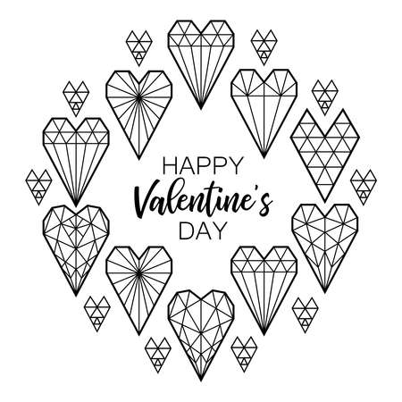 Cute Scandinavian Geometric Valentines Day frame background with hearts in line art style Иллюстрация