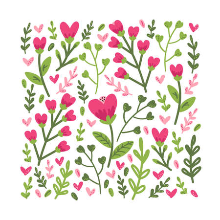 Cute colorful floral collection with hand drawn leaves and flowers in doodle style, can be used for spring or summer botanical design for invitation, wedding or greeting cards Vektorgrafik