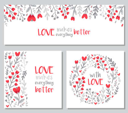 Cute set of Valentines Day floral backgrounds with hand drawn leaves and heart shaped flowers in doodle style
