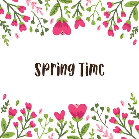 Niedliche bunte Blumenkollektion mit handgezeichneten Blättern und Blumen im Doodle-Stil, kann für botanisches Design im Frühling oder Sommer für Einladungs-, Hochzeits- oder Grußkarten verwendet werden
