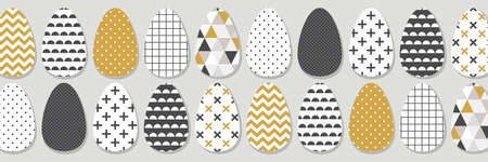 Cute Scandinavian Easter eggs horizontal banner with geometric tribal ornament in black, white and gold colors of ethnic patterns