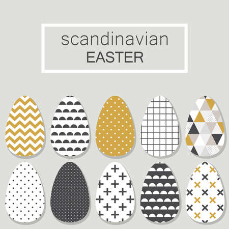 Cute Scandinavian Easter eggs card with geometric tribal ornament in black, white and gold colors of ethnic patterns Ilustrace