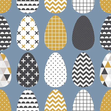 Cute Scandinavian Easter eggs seamless pattern with geometric tribal ornament in black, white and gold colors of ethnic patterns