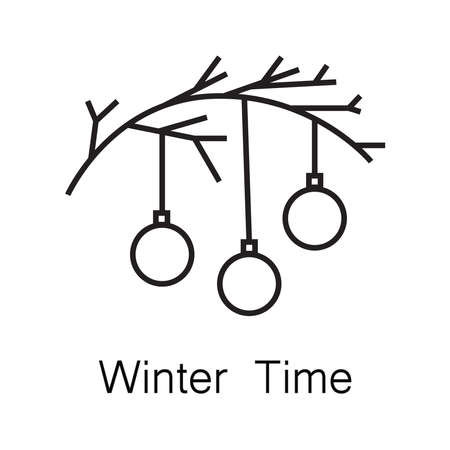 Christmas and New Year holiday symbols in line art minimalist style, vector illustration