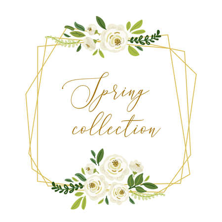 Cute botanical theme geometric frame background with bouquets of hand drawn rustic white roses flowers and green leaves branches, vector arrangements for spring greeting card, wedding invitation etc Standard-Bild - 134852190