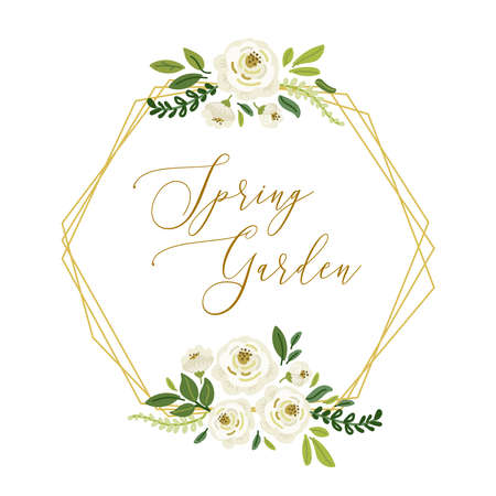 Cute botanical theme geometric frame background with bouquets of hand drawn rustic white roses flowers and green leaves branches, vector arrangements for spring greeting card, wedding invitation etc Standard-Bild - 134852206