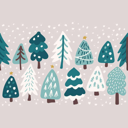 Cute Scandinavian Christmas Tree seamless border background with hand drawn Snowy Fir Trees Forest Archivio Fotografico - 137468201