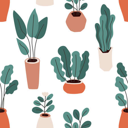 Cute home gardening theme seamless pattern background, trendy hand drawn plants in pots in simple flat style Archivio Fotografico - 138104748