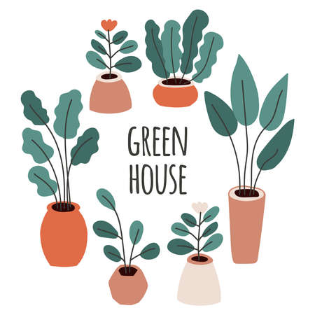 Cute home gardening frame background, trendy hand drawn plants in pots in simple flat style Archivio Fotografico - 138104758