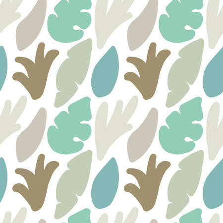 Cute trendy motley seamless pattern with abstract nature elements shape blots on white background, vector illustration in simple flat style, ideal for wrapping paper, wallpaper, fabrics, backdrop etc