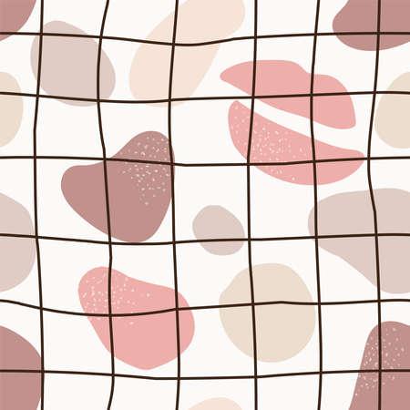 Cute trendy motley seamless pattern with abstract nature shape blots on white background, vector illustration in simple flat style Archivio Fotografico - 139156953