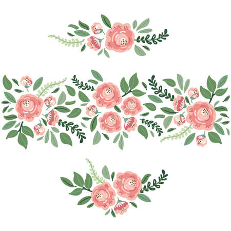 Cute botanical theme floral background with bouquets of hand drawn rustic roses flowers and leaves branches, neutral colors Archivio Fotografico - 139156961
