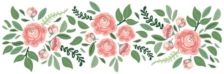 Cute botanical theme floral background with bouquets of hand drawn rustic roses flowers and leaves branches, neutral colors vector arrangements for greeting card, wedding invitation, spring design Archivio Fotografico - 139156963