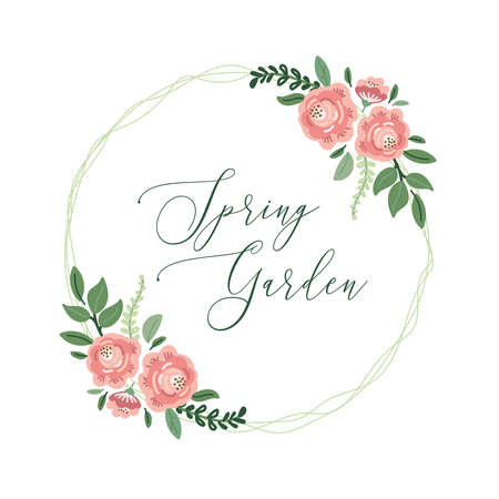 Cute botanical theme floral frame background with bouquets of hand drawn rustic roses flowers, leaves branches, neutral colors vector arrangements for greeting card, wedding invitation, spring design Archivio Fotografico - 139156967