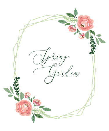 Cute botanical theme floral frame background with bouquets of hand drawn rustic roses flowers, leaves branches, neutral colors vector arrangements for greeting card, wedding invitation, spring design Archivio Fotografico - 139156970
