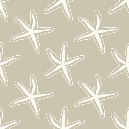 Neutral colors seamless pattern with hand drawn sea stars, marine theme vector illustration in minimal scandinavian style