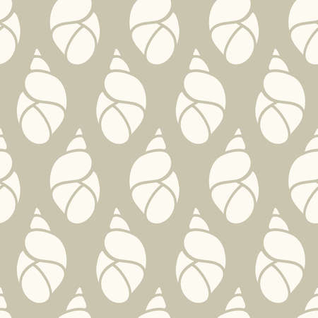 Neutral colors seamless pattern with hand drawn seashells, marine theme vector illustration in minimal scandinavian style