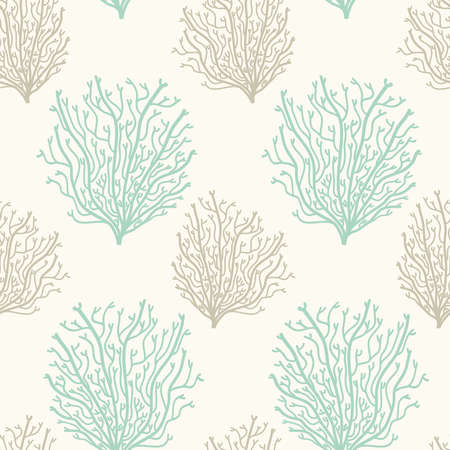 Neutral colors seamless pattern with hand drawn corals, marine theme vector illustration in minimal scandinavian style