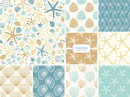 Set of seamless patterns with hand drawn seashells, neutral colors marine theme vector illustration in minimal scandinavian style