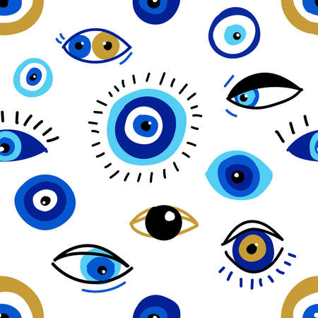 Seamless pattern with evil eyes, different talismans in hand drawn flat design, contemporary modern trendy style Vecteurs