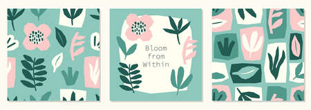 Every day motivation as creative trendy abstract paper cut out collage set backgrounds for social media templates, neutral colors