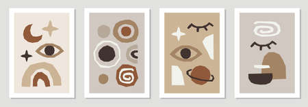 Set of creative trendy abstract contemporary collage backgrounds in minimal flat style with simple shapes ideal for interior posters, social media templates, neutral colors for your decoration 矢量图像