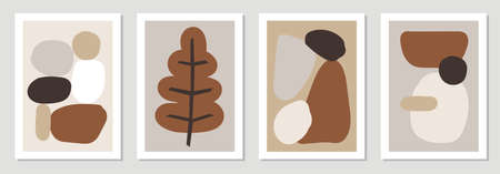 Set of minimal posters with abstract organic shapes composition in trendy contemporary collage style  イラスト・ベクター素材
