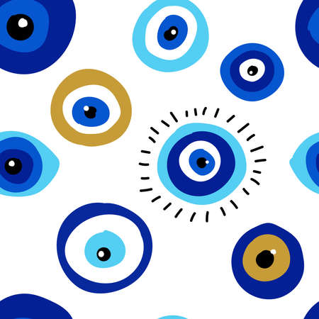 Seamless pattern with evil eyes, different talismans in hand drawn flat design, contemporary modern trendy style