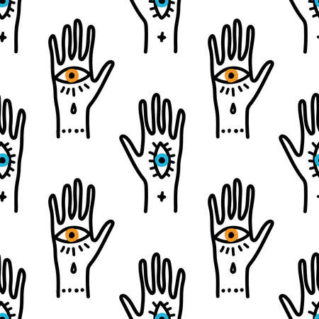 Trendy seamless pattern with hand drawn magic elements as hand with the eye