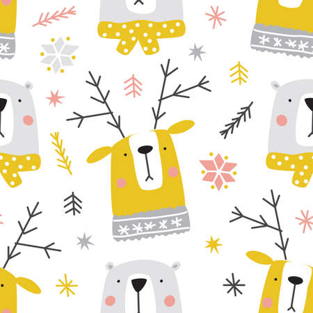 Cute Christmas woodland forest animals seamless pattern as cartoon characters of deer and bear for your decoration 向量圖像
