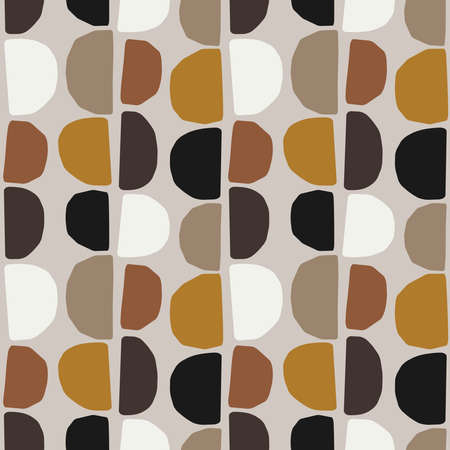 Cute trendy mid century modern seamless pattern with abstract organic shapes nature elements, vector illustration