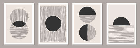 Trendy set of abstract creative minimalist artistic hand painted composition ideal for wall decoration, as postcard or brochure design, vector illustration Illusztráció