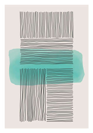 Trendy abstract creative minimalist artistic hand painted composition ideal for wall decoration, as postcard or brochure design, vector illustration