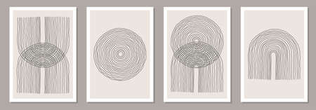 Trendy set of abstract creative minimal artistic hand sketched compositions Vektorgrafik