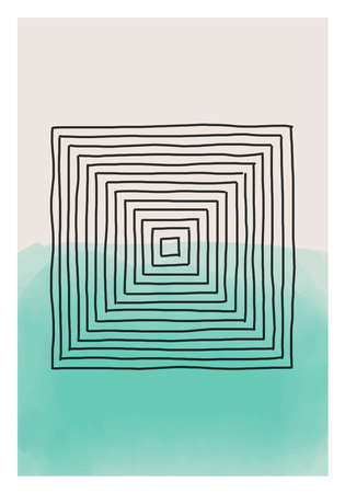 Trendy abstract creative minimalist artistic hand drawn composition ideal for wall decoration, as postcard or brochure design, vector illustration