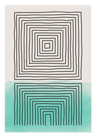 Trendy abstract creative minimalist artistic hand drawn composition ideal for wall decoration, as postcard or brochure design, vector illustration Zdjęcie Seryjne - 151400017