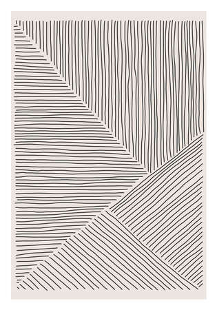 Trendy abstract creative minimalist artistic hand drawn line art composition ideal for wall decoration, as postcard or brochure design, vector illustration