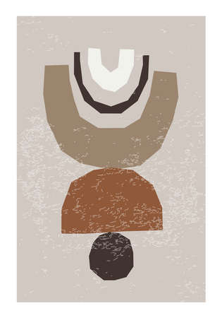 Minimal wall art poster with abstract organic shapes composition