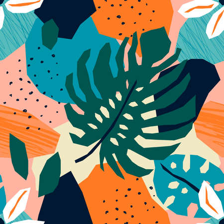 Trendy tropical paper cut collage with abstract floral element, seamless pattern