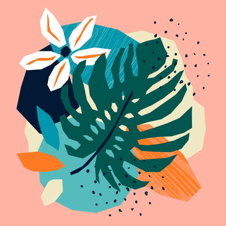 Trendy paper cut collage with abstract floral elements, card in flat design Ilustracja