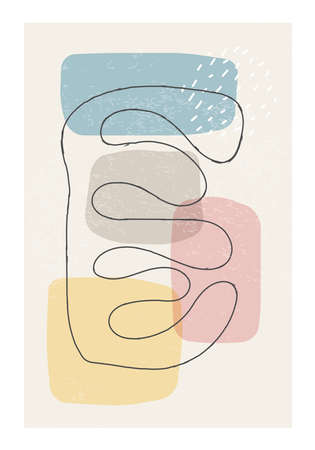 Matisse inspired contemporary collage poster with abstract organic shapes Ilustracja