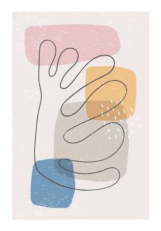 Matisse inspired contemporary collage poster with abstract organic shapes Zdjęcie Seryjne - 151841375