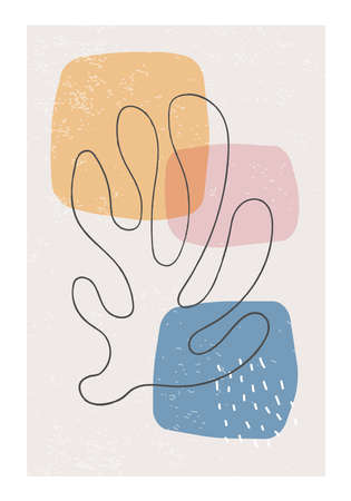 Matisse inspired contemporary collage poster with abstract organic shapes  イラスト・ベクター素材