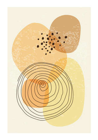 Minimalist poster with abstract organic shapes composition  イラスト・ベクター素材
