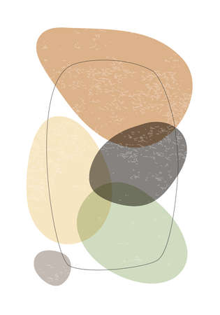 Minimalist design poster with abstract organic shapes composition 版權商用圖片 - 153110943