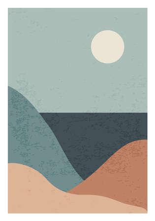 Trendy minimalist landscape abstract contemporary collage design 版權商用圖片 - 153110954