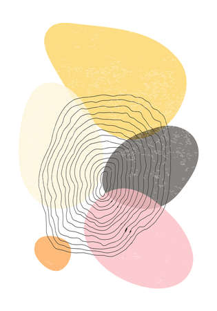 Minimalist design poster with abstract organic shapes composition 版權商用圖片 - 153110960