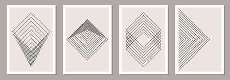 Trendy set of abstract creative minimalist artistic hand drawn composition 版權商用圖片 - 153110995