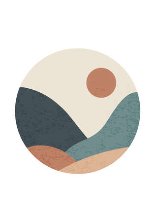Trendy minimalist landscape abstract contemporary collage design