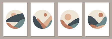 Set of trendy minimalist landscape abstract contemporary collage designs Vectores